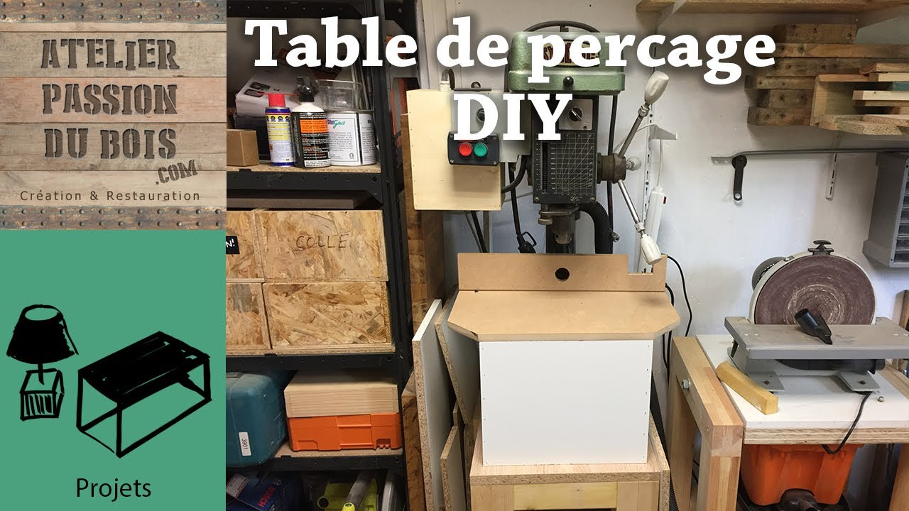 table de percage diy pour perceuse colonne youtube. Black Bedroom Furniture Sets. Home Design Ideas