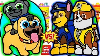 Huevos Sorpresa Gigantes de Puppy Dog Pals VS Paw Patrol de Plastilina Play Doh en Español