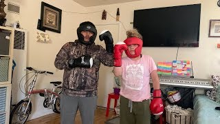 17 year old girl fights a boy ( funny)