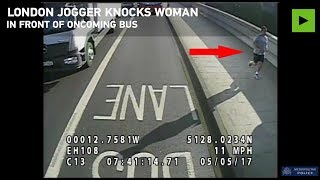 Jogger knocks woman in front of bus