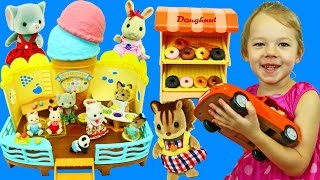 Dollhouse & Ice Cream Shop Bakery Pretend Play With Calico Critters Figurine Dolls DisneyCarToys