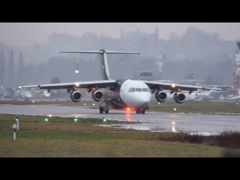 Titan Airways British Aerospace BAe 146-200 Take Off at Airport Bern-Belp