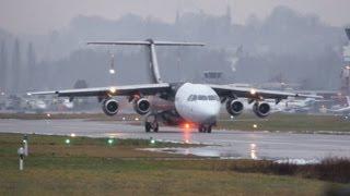titan airways british aerospace bae 146 200 take off at airport bern belp
