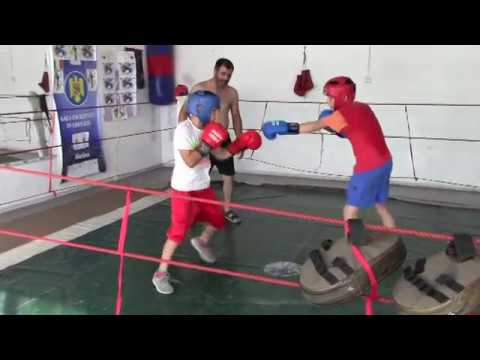 boxing gym sparing  , training for the first match of boxing career