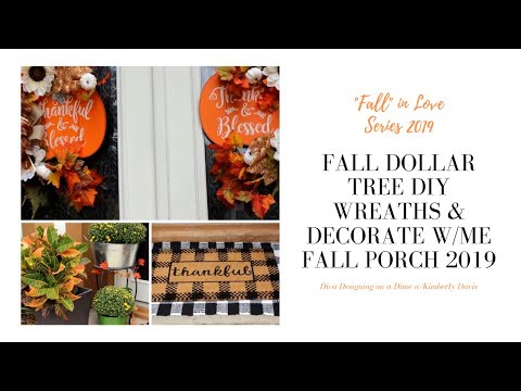 Fall Dollar Tree DIY Wreaths | Decorate with Me | Fall Porch 2019 #diy #dollartree #fallporch2019