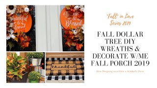 Fall Dollar Tree DIY Wreaths | Decorate with Me | Fall Porch 2019 #diy #dollartree #fallporch2019