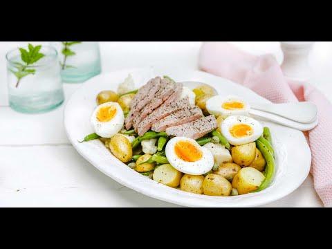 salade-tiède-de-pommes-de-terre,-haricots-verts-et-escalope-de-veau
