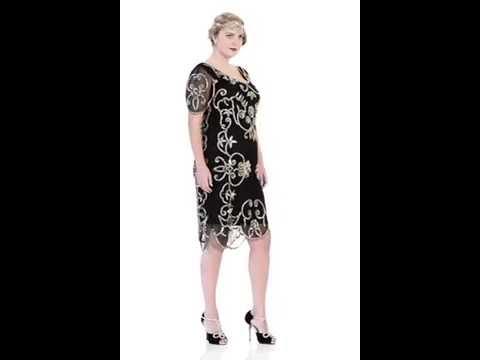 Rosemary Vintage Inspired Flapper Dress Black Gold (Plus Size)