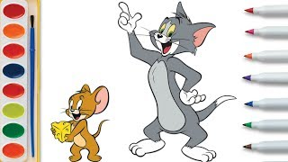 Tom and Jerry Drawing and Coloring Cartoon for Kids - How to Draw Cartoon for Children