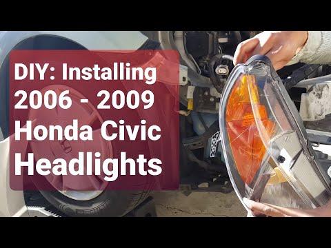 DIY Installing Honda Civic Headlights 2006 -2009! - YouTube