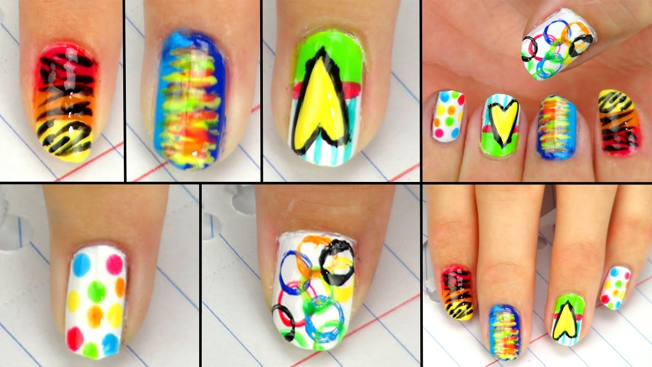5 cute easy back to school nail designs youtube prinsesfo Images