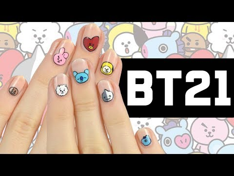 BT21 Nail Art Tutorial - YouTube