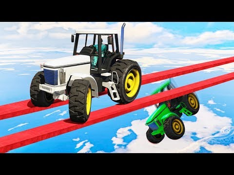 IMPOSSIBLE TRACTOR STUNT RACE! GTA 5 Funny Moments
