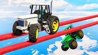 IMPOSSIBLE TRACTOR STUNT RACE! (GTA 5 Funny Moments)