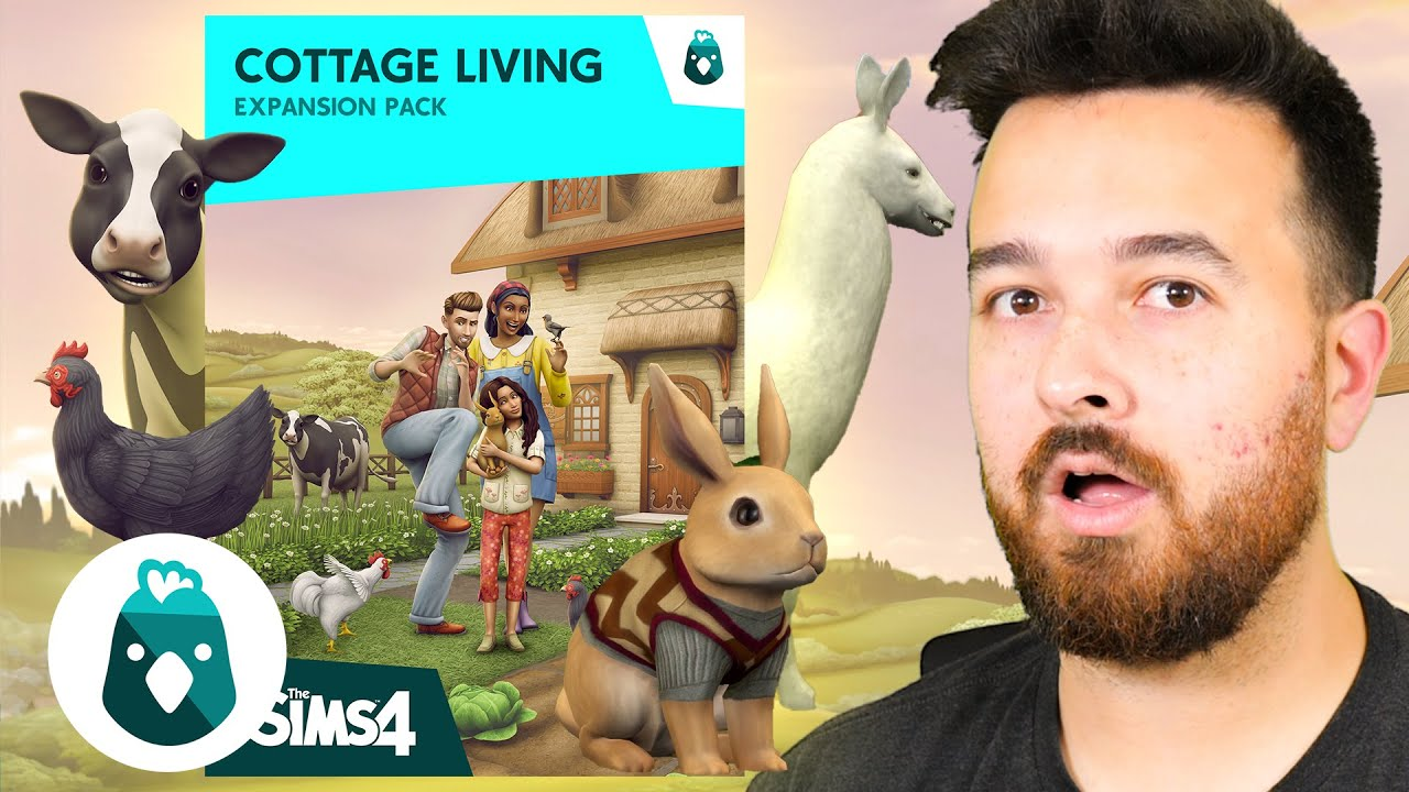 The Sims 4 Cottage Living REACTION! Farming, Cows, Chickens, Llamas....!