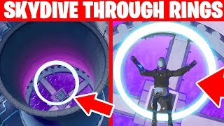 Skydive through rings in Steamy Stacks Fortnite location