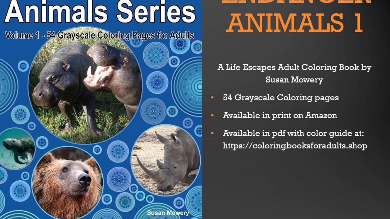 Endangered Animals 1 Adult Coloring Book Flip Thru - YouTube