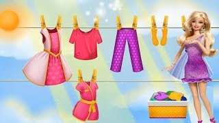 barbie wash clothes again -Toys Video for Children