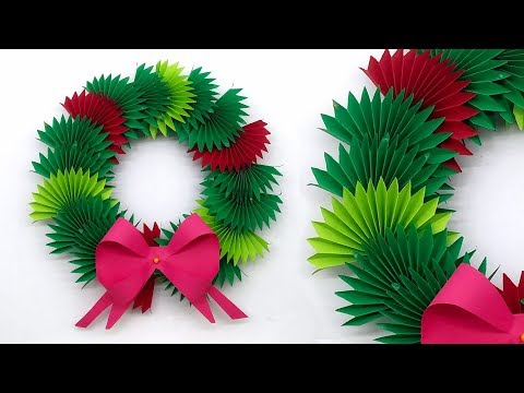 Paper Christmas Wreath | Beautiful Christmas Decoration Ideas 2019 | DIY Christmas Paper Wreath