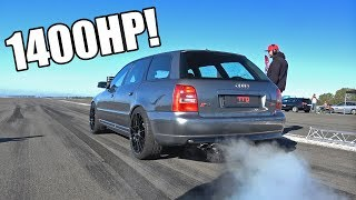 1400HP Audi S4 B5 V6 Biturbo TTD 311Km/h Brutal Accelerations!