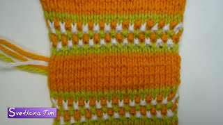 Ленивый ЖАККАРД. Горизонтальные полосочки. Вязание спицами # 198