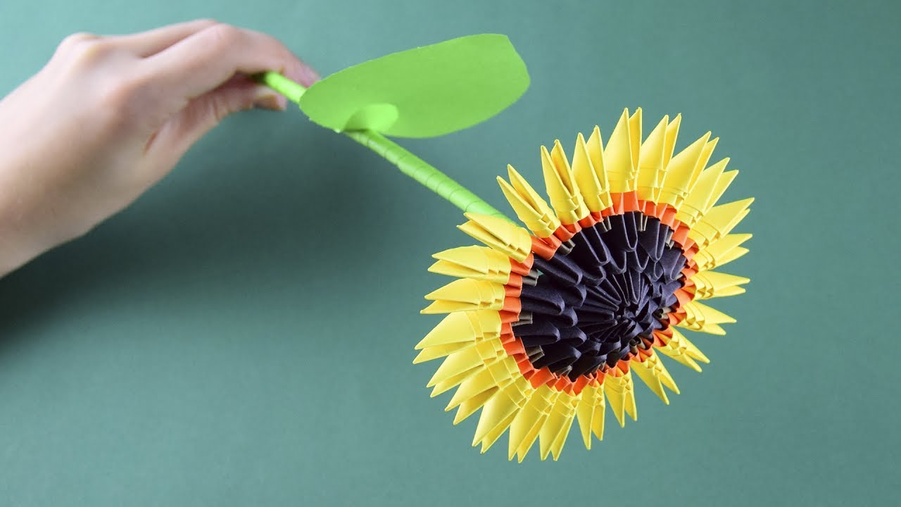 3d origami sunflower tutorial assembly for beginners youtube