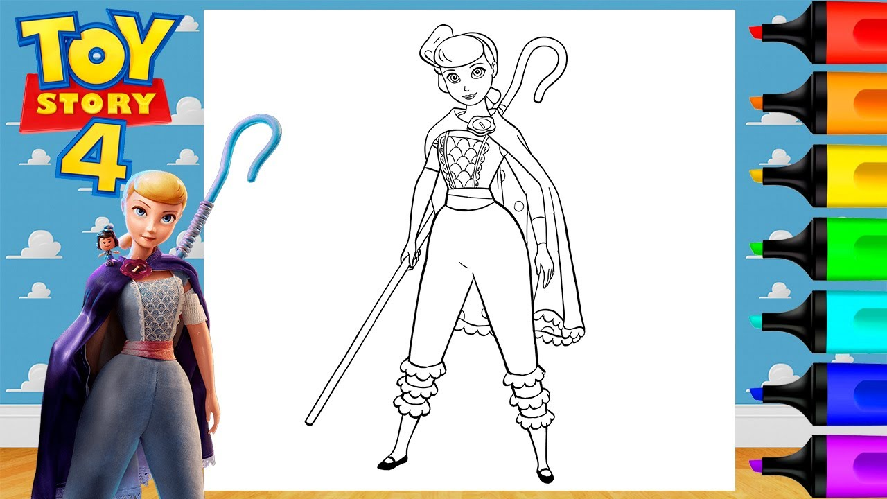Coloring Toy Story 4 Bo Peep Disney Coloring Page Markers ...