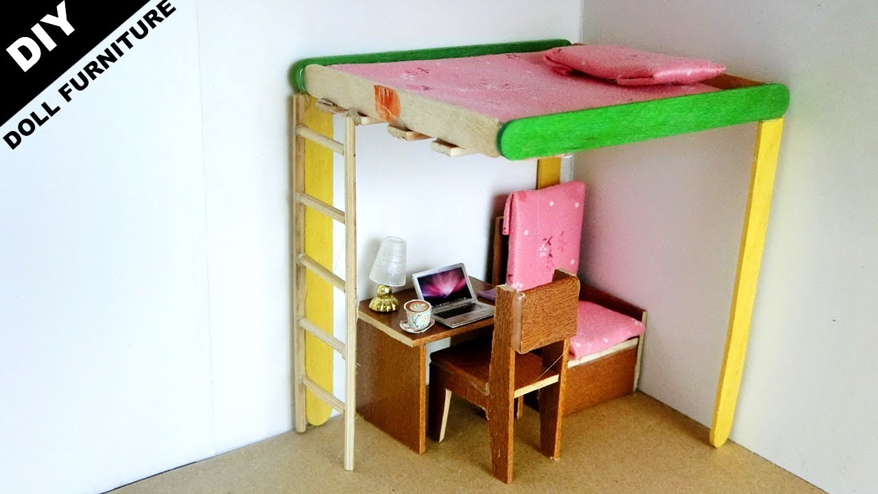 Diy Miniature Doll Bed And Desk 9 Popsicle Stick Crafts Ideas