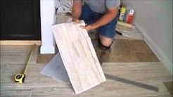 """TrafficMaster ceramica 12"""" X 24""""  vinyl tile floor installation."""