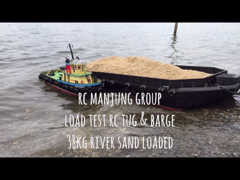RC Tug & Barge Loaded With Real River Sand in Rough Sea