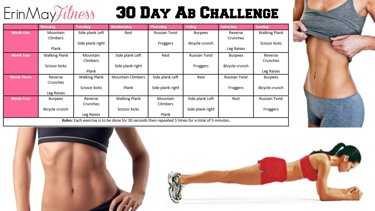 Get Abs Fast Erinmayfitness 30 Day Ab Challenge ♡ Youtube