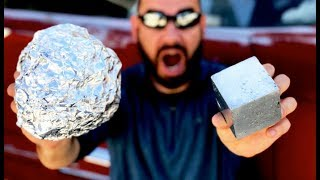 Polished Japanese Foil Ball SMASHED into a CUBE | Mirror Shine CUBE from Aluminum Foil!