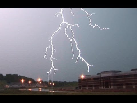 Close lightning strikes, thunder with active storm in Bridgeport, WV - 2006