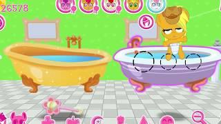 Сонные поняшки не хотят купаться в старой ванной.My little pony.