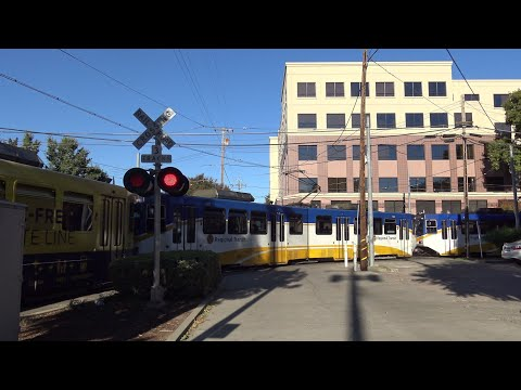 12th St. And Whittney Ave. Railroad Crossing, Sacramento Light Rail Trains, Sacramento CA