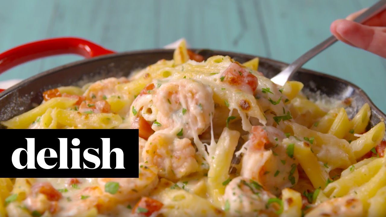 Garlicky Shrimp Alfredo Bake Delish Youtube