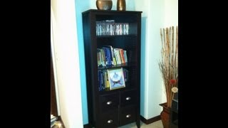 Sauder Shoal Creek Bookcase With Doors (Jamocha Wood)