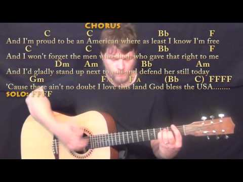 God Bless the USA (Lee Greenwood) Guitar Lesson Chord Chart - Acoustic Instrumental
