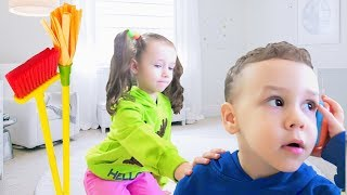 Ulya and Tisha cleans the playhouse