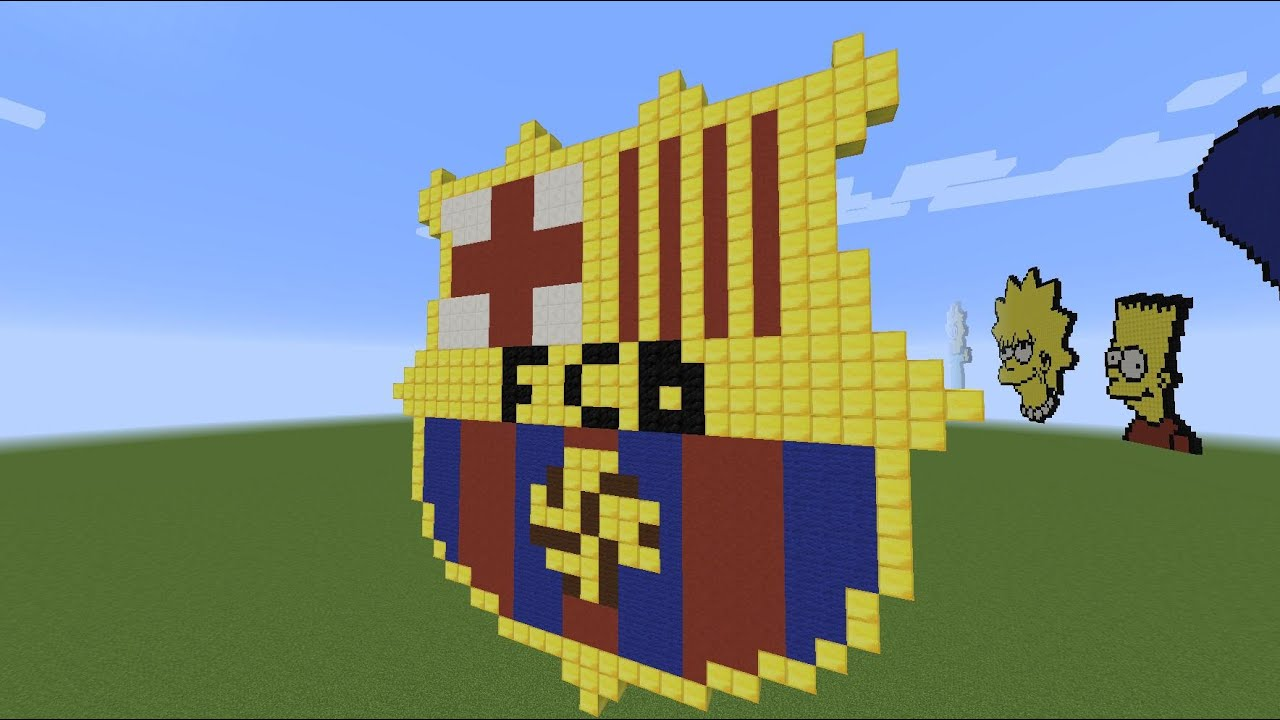 minecraft pixel art f c barcelona par trd fr youtube
