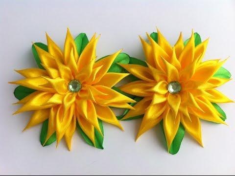 Украшение на резинку Канзаши/Желтая астра