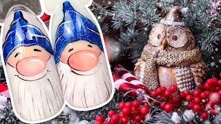 🎅 Новогодний Дизайн Ногтей с Блёстками 🎅 Рисунок Гель-лаком для Праздничного Маникюра 🎅 Гномик