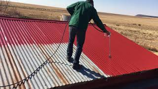Airless-spray painting a roof