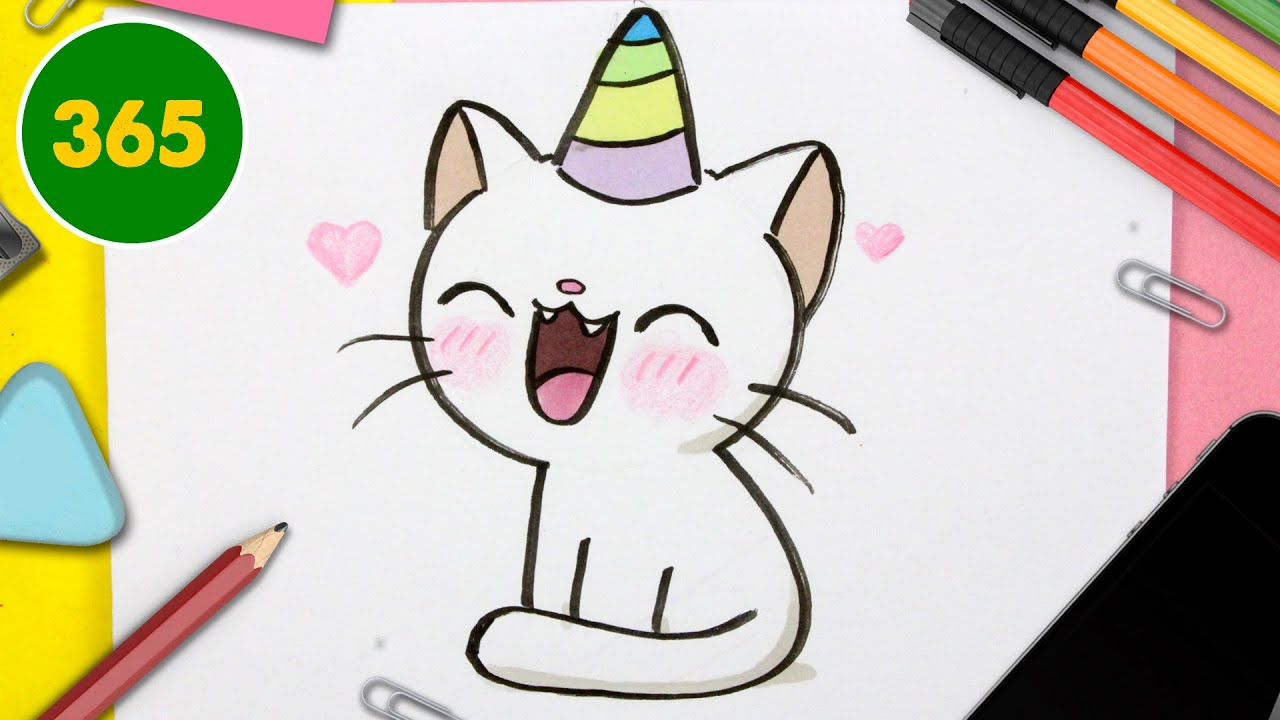Comment Dessiner Un Chat Licorne Kawaii Royaume De Licorne