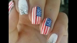 Fourth of July nails-american flag glitter gradient (2)