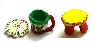 VERY EASY TEA CUP WITH SAUCER AND STOOL MAKING FOR KIDS-LEARNING ART FOR KIDS