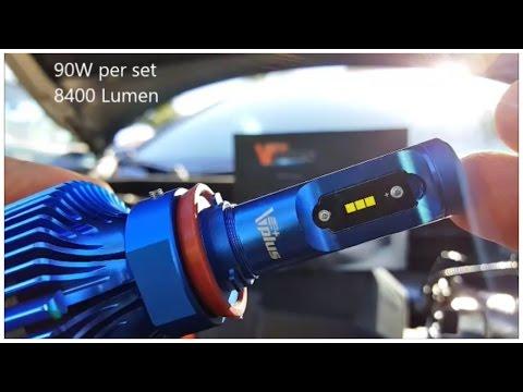 Vplus 90W 8,400LM 6500K LED Installation Comparison & Demo (NO Fan)
