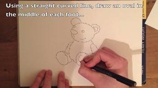 How to Draw a Teddy Bear - Easy Step by Step Tutorial to Draw a Cartoon Bear