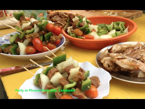 Party at Phnom Penh City in Cambodia | Beef Skewer & Beef Salad