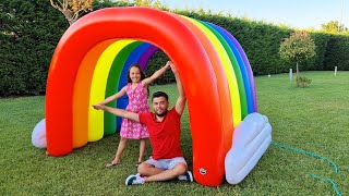 Öykü end dad pretend play with rainbow - Fun story for kids